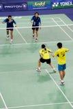 Mischdoppelt-Badminton Stockfotos