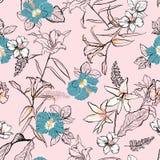 Mischen süße Hand gezeichnete Linie Skizzenblumen lilly mit Hibiscus und stock abbildung