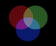 Mischende RGB-Farbe, Makroschuß von wirklichen Schirmpixeln lizenzfreie abbildung