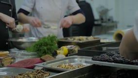 Mischethnieteam von den Berufschefs, die Lebensmittel in einer Handelsküche zubereiten und kochen stock video footage