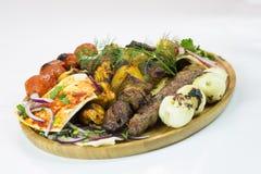 Mischgrill-Servierplatten-nahöstliches Kochen Stockfotos