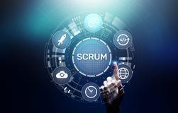 MISCHIA, metodologia agile di sviluppo, programmare e concetto di tecnologia di progettazione di applicazione sullo schermo virtu immagini stock libere da diritti