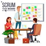 Mischia Team Work Vector dei caratteri di affari Pianificazione di schema di lavoro di squadra sulla lavagna Team Room Full Of Ta royalty illustrazione gratis