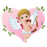 Mischief cupid snibbling heart shaped chocolate. Mischief cupid biting heart shaped chocolate. EPS10 Stock Images