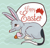 Mischievous Bilby with Chocolate Eggs in Easter Celebration, Vector Illustration Royalty Free Stock Images