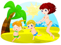 Mischievous children. Illustration of mischievous children to the sea Royalty Free Stock Image