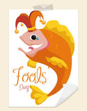Mischievous Fish in Harlequin Costume for April Fools' Day, Vector Illustration Stock Image