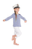 Mischievous girl in suite sailor boy Stock Images