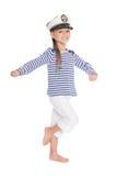 Mischievous girl in suite sailor boy Stock Images