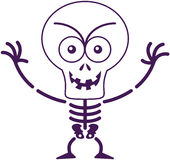 Mischievous Halloween skeleton posing and smiling maliciously Royalty Free Stock Photo