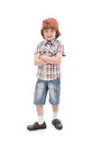Mischievous kid with freckles. Isolated Royalty Free Stock Images