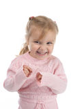 Mischievous little girl. In a pink jersey Stock Photo