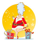Mischievous Maiden with Christmas costumes Stock Photos