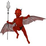Mischievous red skinned winged imp Royalty Free Stock Image