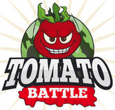 Mischievous Tomato over Military Button for a Funny Tomato Battle, Vector Illustration. Poster with a mischievous tomato over a camouflaged button and greeting Stock Image