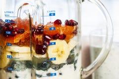 Mischmaschine mit Frucht und Jogurt für Smoothies Stockbilder