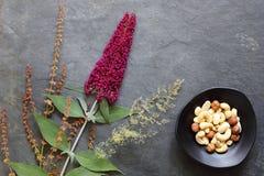 Mischnüsse in der Schüssel mit frischen Blumen und Gräsern lizenzfreie stockbilder