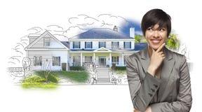 Mischrasse-weibliches Anstarren über Haus-Zeichnung und Foto Lizenzfreie Stockfotos