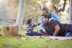 Mischrennen-ethnische Familie, die Picknick im Park hat Lizenzfreie Stockbilder