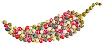 Mischung der Peperoni lokalisiert auf weißem Hintergrund Lizenzfreies Stockfoto