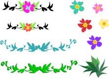 Mischung der tropischen Blumen und der Auslegungen stock abbildung