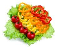 Mischung des Frischgemüses, farbiger Paprika, Tomaten Stockbild