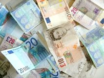 Mischung des Geldes stockbilder