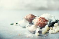 Mischung des unterschiedlichen Salzes schreibt auf grauem konkretem Hintergrund Seesalz-, Schwarze und rosahimalajasalzkristalle, Stockbilder