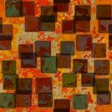 Mischung von bunten Fliesen auf Rot befleckte Hintergrund mit Pergamentrahmen auf Grenze mit Weinleseschmutzbeschaffenheit und ve Lizenzfreie Stockbilder