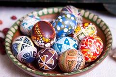 Mischung von Eiern mit den traditionellen Designen Lizenzfreie Stockbilder