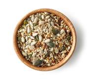 Mischung von Samen in der hölzernen Schüssel lizenzfreies stockbild