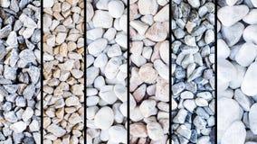 Mischung von verschiedenen Steinarten, schwarze vertikale Streifen Stockfoto
