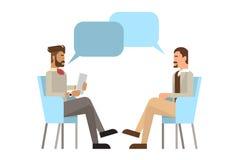 Mischungs-Renngeschäftsmann Sitting Office Desk wenden Job Interview, Geschäftsleute Kandidaten-an Lizenzfreies Stockbild