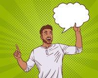 Mischungs-Rennmann-Punkt-Finger bis zur leeren Chat-Wolke über Dot Pin Up Style Background lizenzfreie abbildung