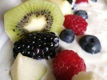 Mischungsbeeren der frischen Kiwi des Joghurts frische, an der richtigen Stelle, nahes hohes Stockfotos