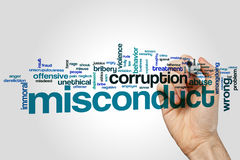 Misconduct word cloud. Concept on grey background Royalty Free Stock Images
