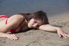 Misdaadscène op het strand stock foto