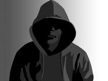Misdadiger met een kap royalty-vrije stock afbeeldingen