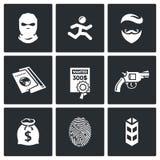 Misdadiger op de geplaatste looppas en de gewilde pictogrammen Vector illustratie Stock Fotografie