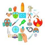 Misdeed icons set, cartoon style. Misdeed icons set. Cartoon set of 25 misdeed vector icons for web isolated on white background Royalty Free Stock Images
