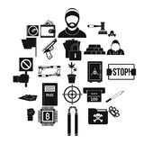 Misdemeanor icons set, simple style. Misdemeanor icons set. Simple set of 25 misdemeanor vector icons for web isolated on white background Royalty Free Stock Photos