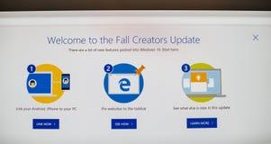 Mise à jour de créateurs de chute de l'OS de Microsoft Windows 10 Photographie stock libre de droits