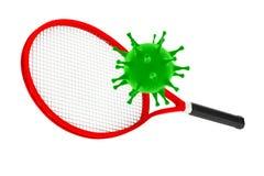 Mise à mort de sport le concept de virus Raquette de tennis avec le virus rende 3D Images stock