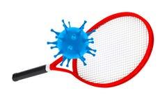 Mise à mort de sport le concept de virus Raquette de tennis avec le virus rende 3D Photo stock