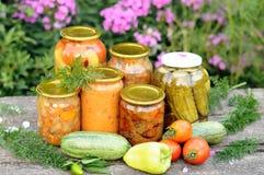 Mise en boîte à la maison, légumes en boîte Images stock