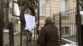 Mise en commun de l'entrée de station pour voter pour le président russe Images libres de droits