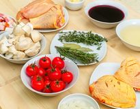 Mise en place Coq au Vin. Ready to cook a delicious recipe Royalty Free Stock Photography