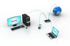 Mise en réseau d'ordinateur avec le globe Image stock