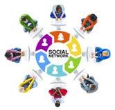 Mise en réseau de personnes et concepts sociaux de réseau informatique Photographie stock libre de droits
