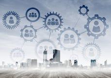 Mise en réseau et communication sociale en tant que moyens pour la stratégie commerciale efficace Image stock